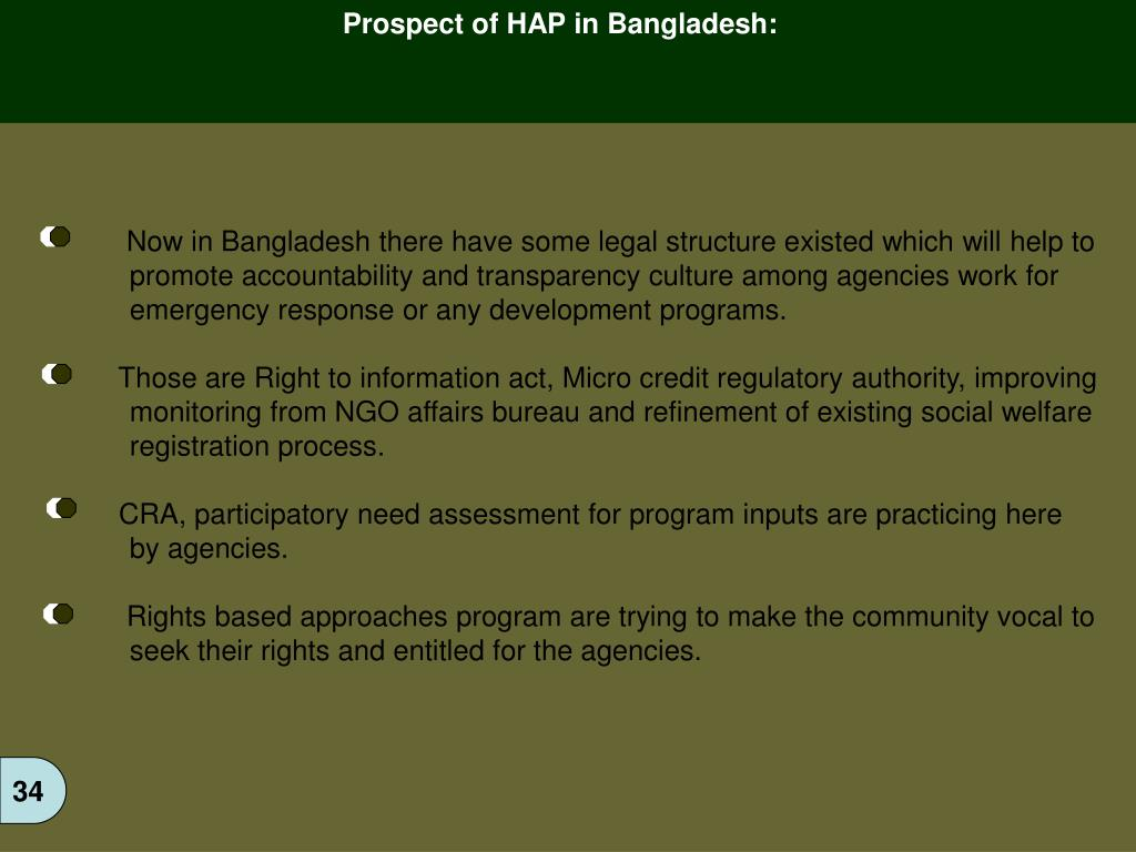 Prospect of HAP in Bangladesh: