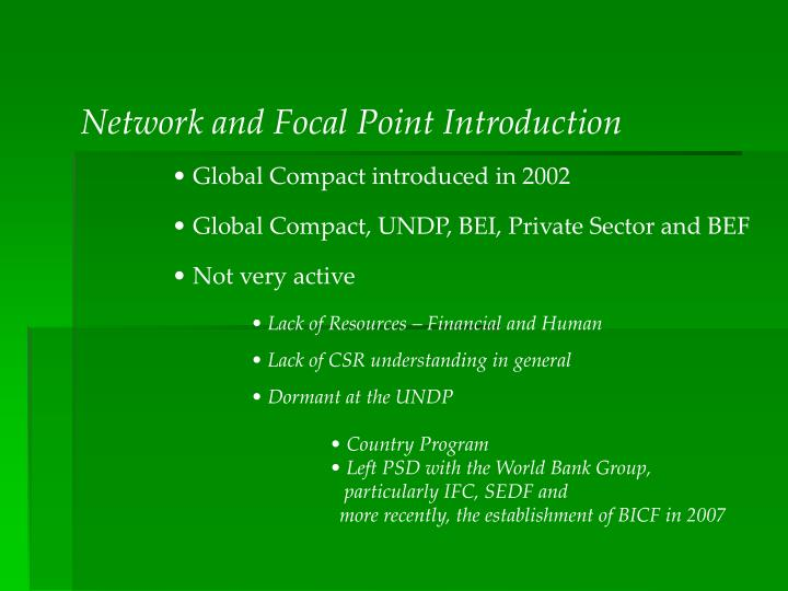 Network and Focal Point Introduction