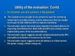 utility of the evaluation contd