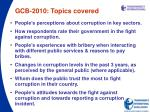 gcb 2010 topics covered