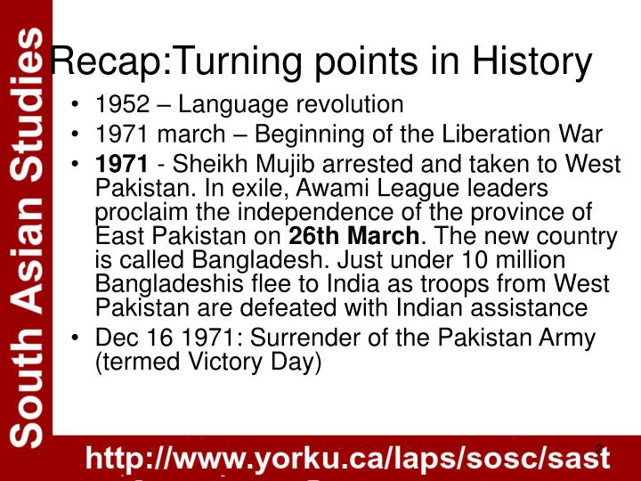 Recap turning points in history