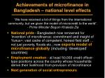 achievements of microfinance in bangladesh national level effects
