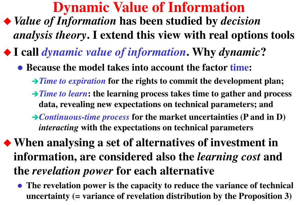 Dynamic Value of Information
