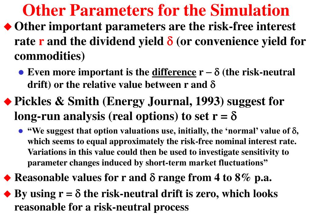 Other Parameters for the Simulation