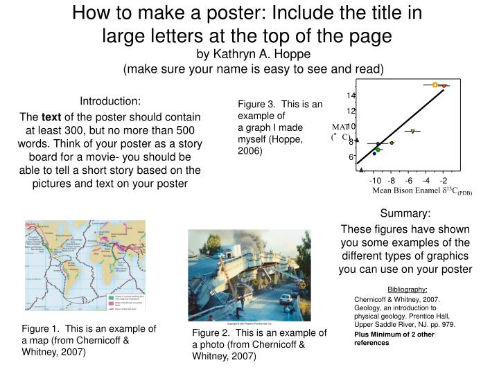 how to make a poster include the title in large letters at the top of the page n.