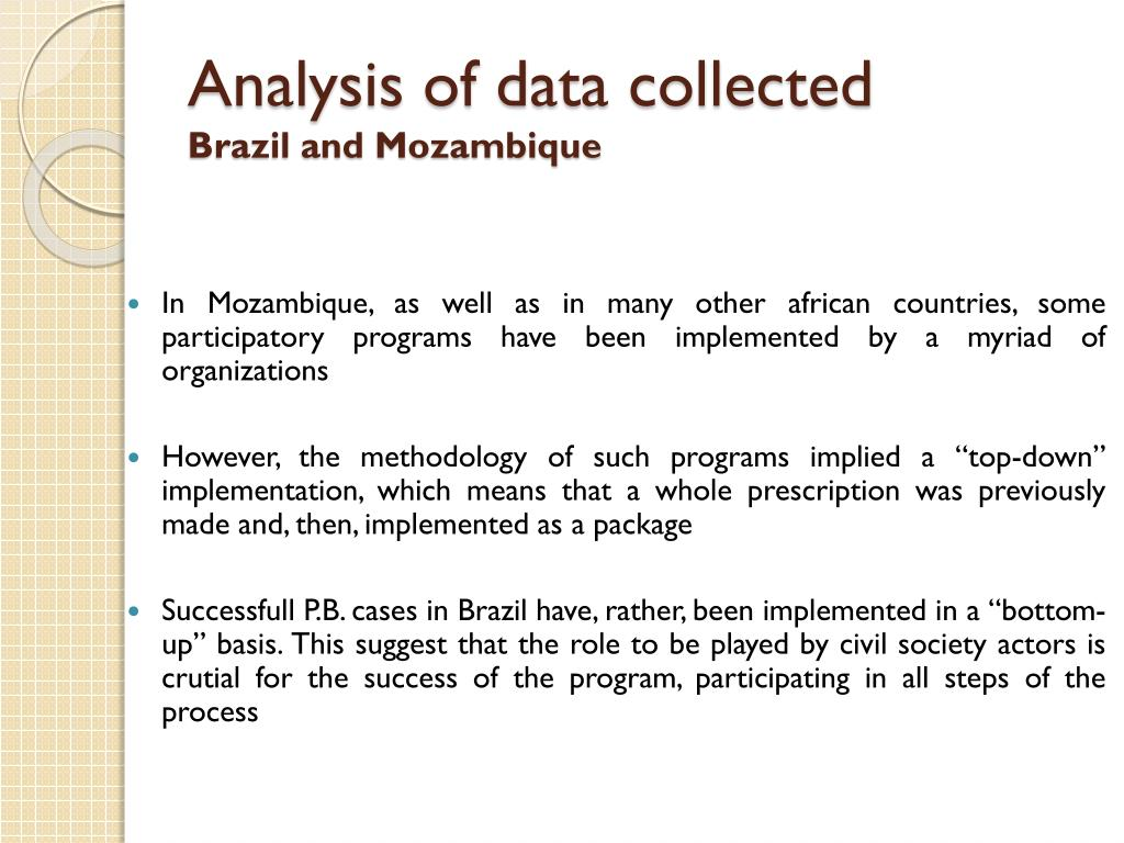 Analysis of data collected