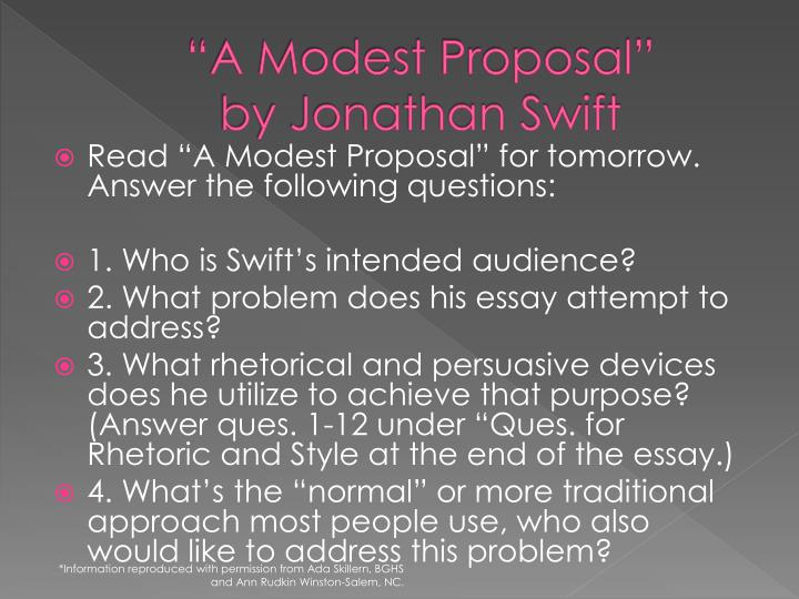 a modest proposal gun safety argument What are ideas to write a thesis statement based on the satirical essay a for a modest proposal jonathan swift's satirical essay a modest proposal.