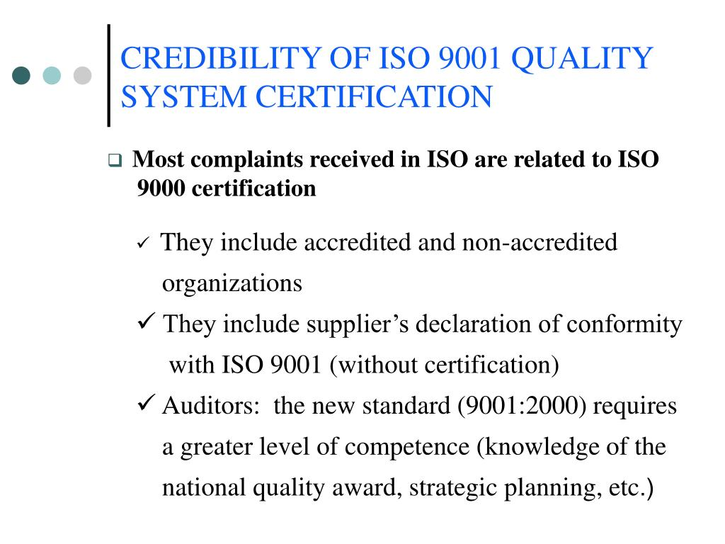 CREDIBILITY OF ISO 9001 QUALITY