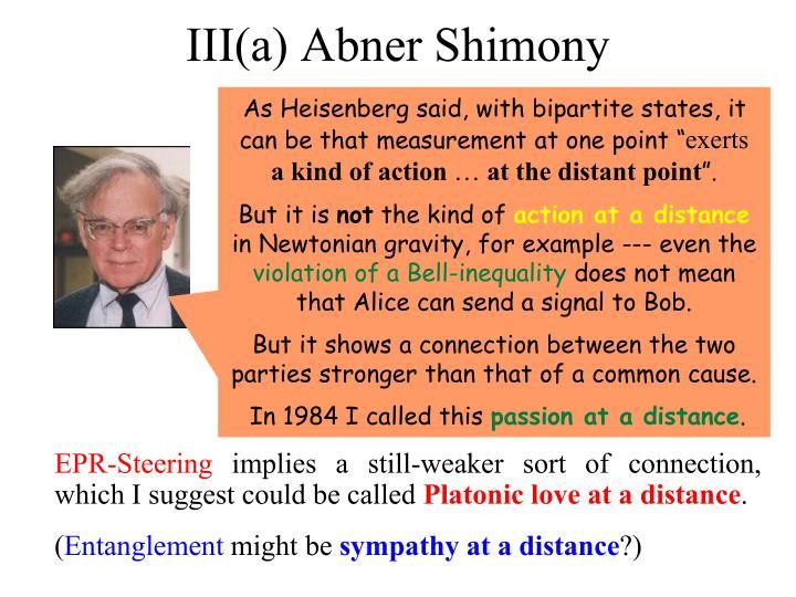 III(a) Abner Shimony