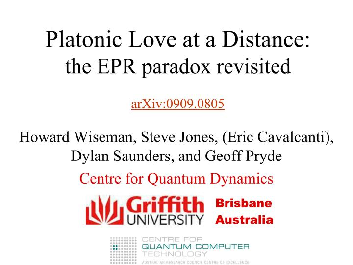 Platonic love at a distance the epr paradox revisited arxiv 0909 0805