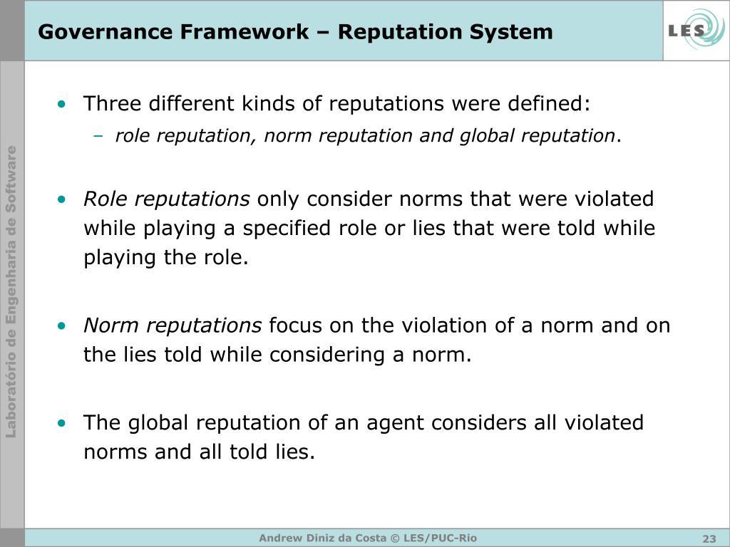 Governance Framework – Reputation System