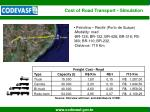 cost of road transport simulation