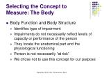 selecting the concept to measure the body