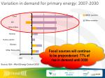 variation in demand for primary energy 2007 2030
