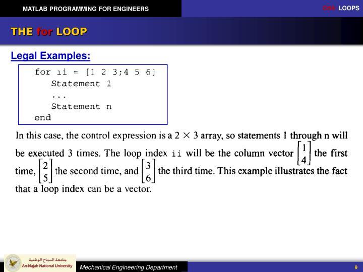 matlab for loop through array