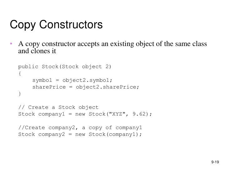 Copy Constructors
