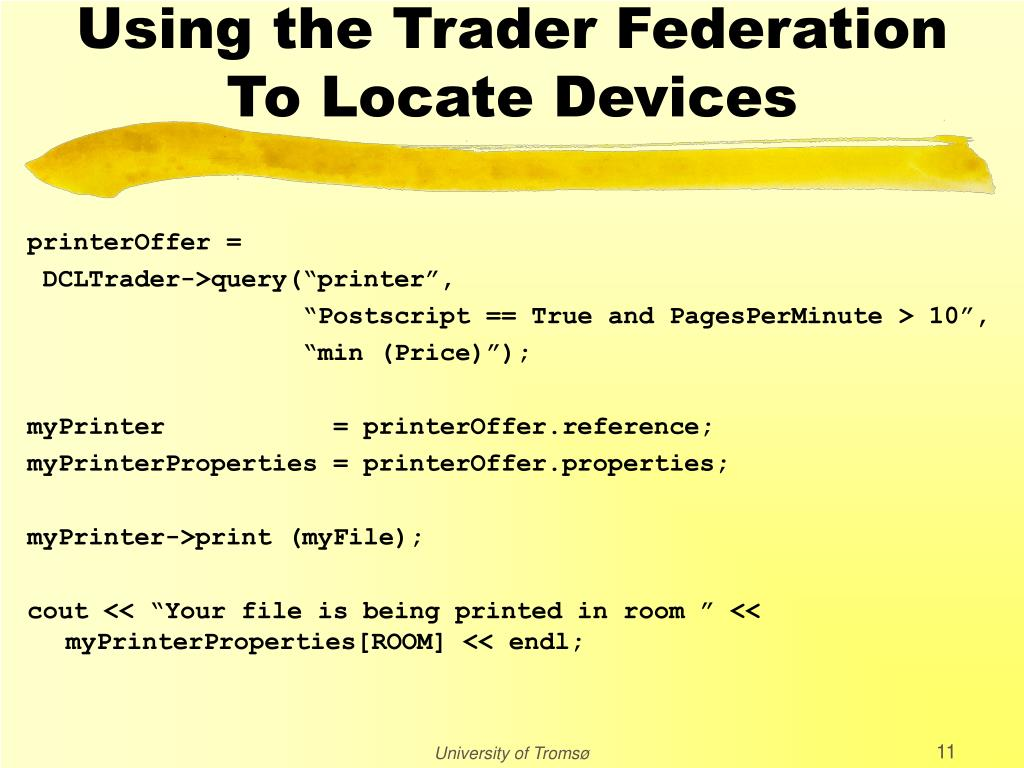 Using the Trader Federation