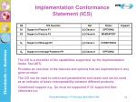 implementation conformance statement ics