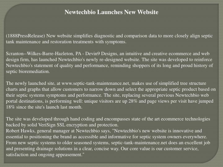 Newtechbio Launches New Website