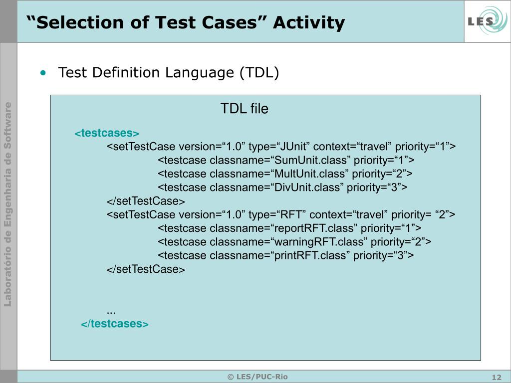 """""""Selection of Test Cases"""" Activity"""
