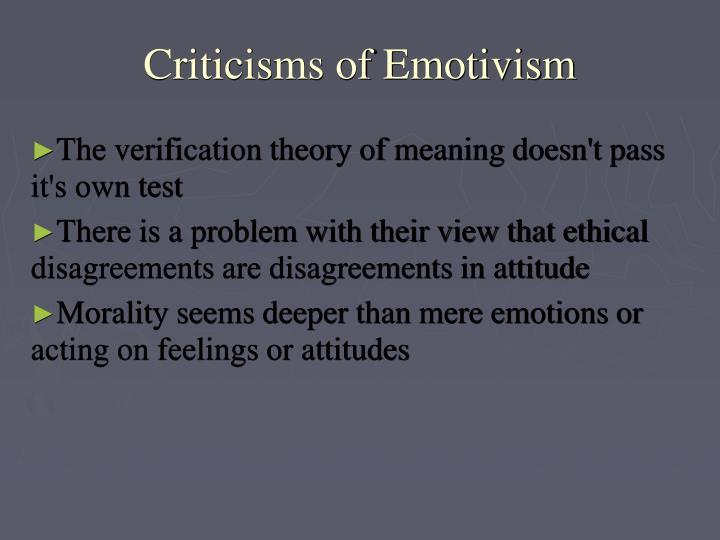 Criticisms of Emotivism
