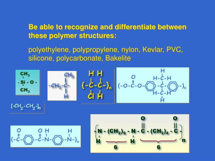 Be able to recognize and differentiate between these polymer structures: