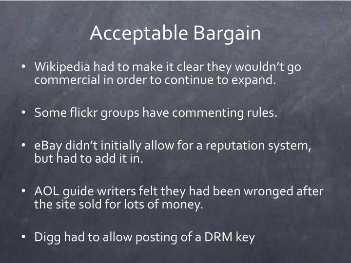 Acceptable Bargain