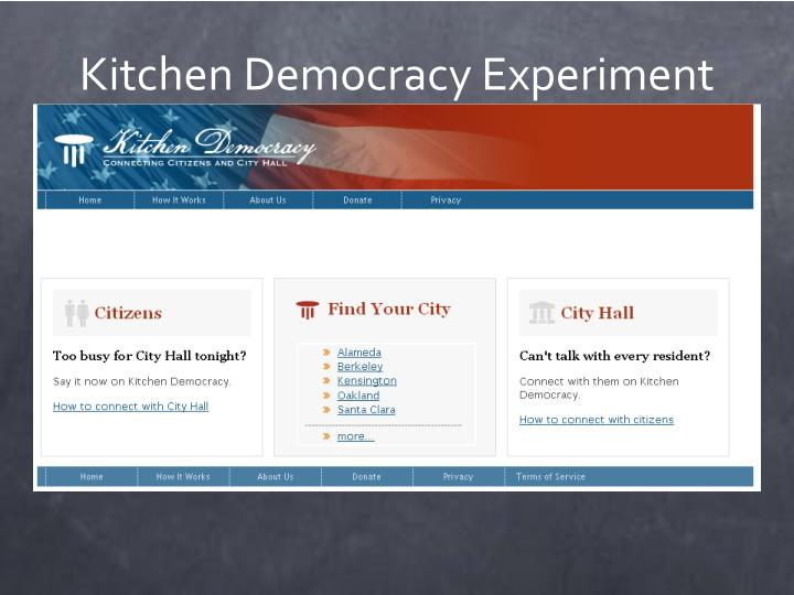 Kitchen Democracy Experiment