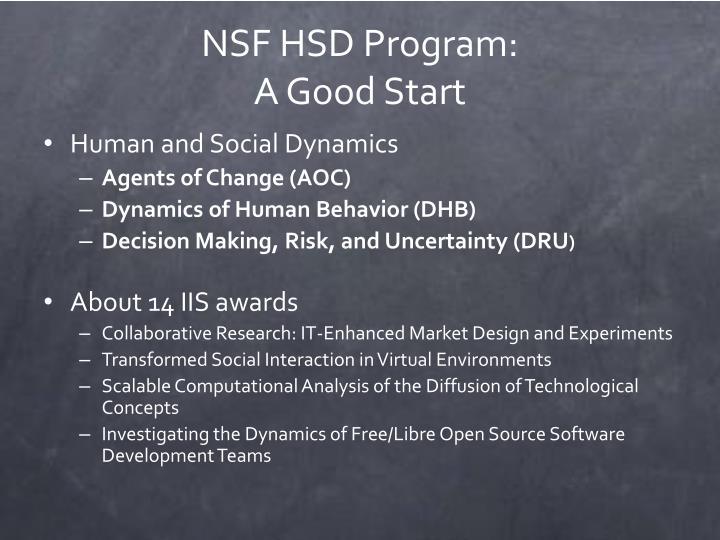 NSF HSD Program: