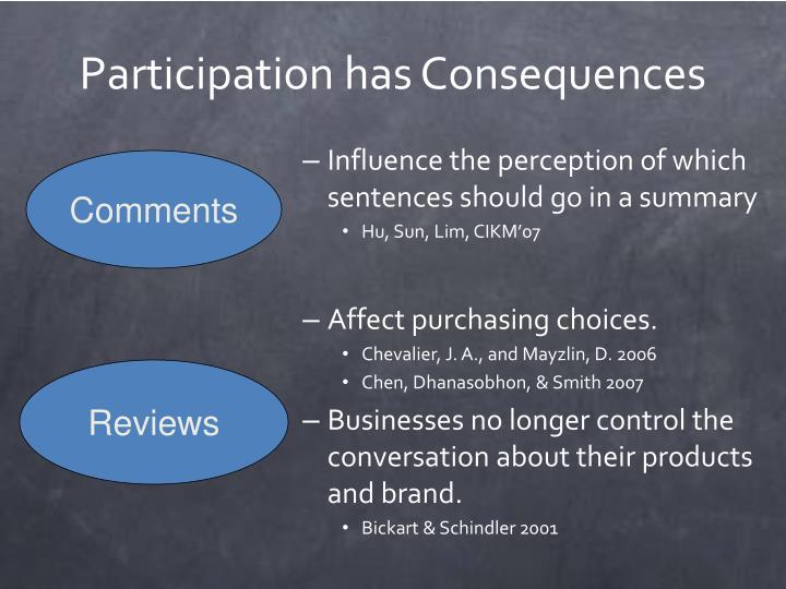 Participation has Consequences
