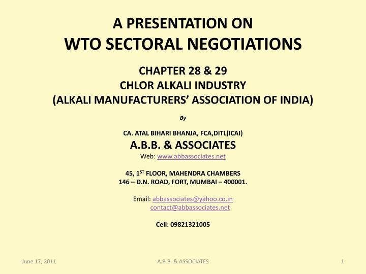a presentation on wto sectoral negotiations n.