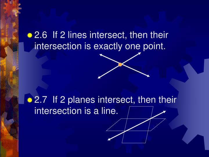 2.6  If 2 lines intersect, then their intersection is exactly one point.