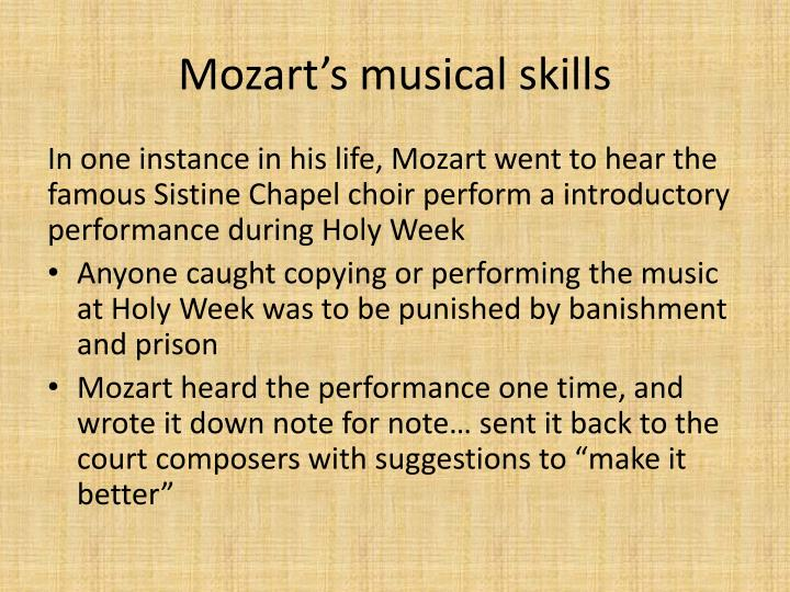 Mozart's musical skills