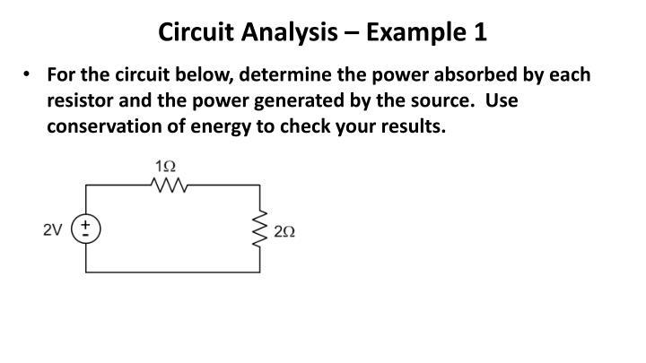 Circuit Analysis – Example 1