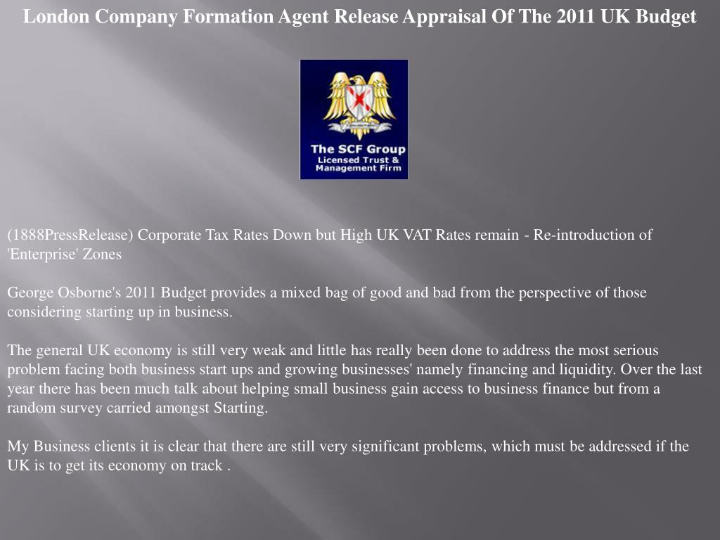 London Company Formation Agent Release Appraisal Of The 2011 UK Budget