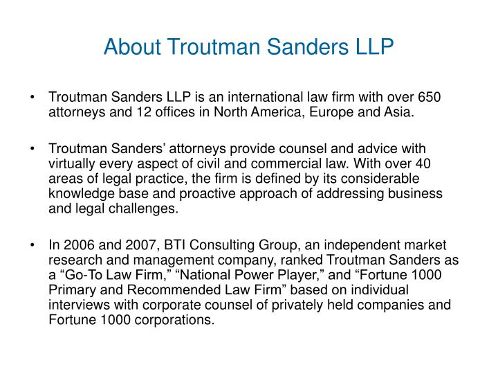 About Troutman Sanders LLP