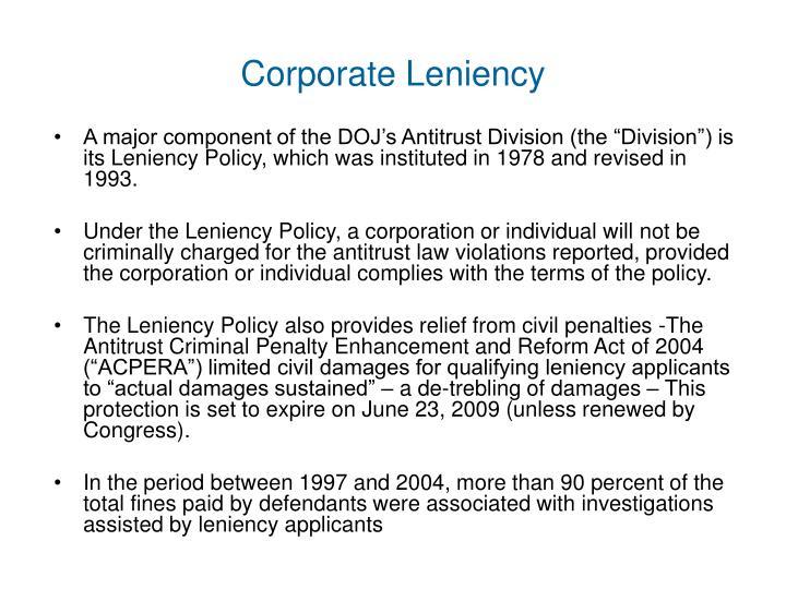 Corporate Leniency