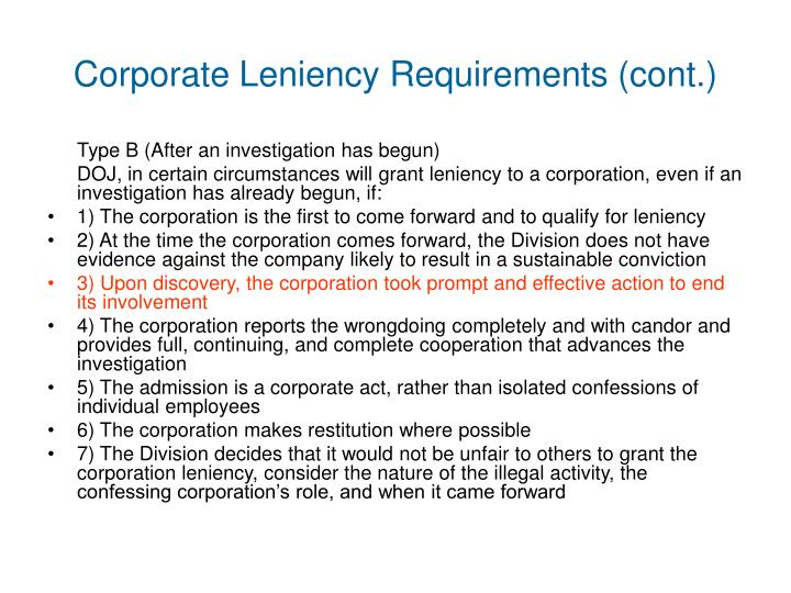 Corporate Leniency Requirements (cont.)