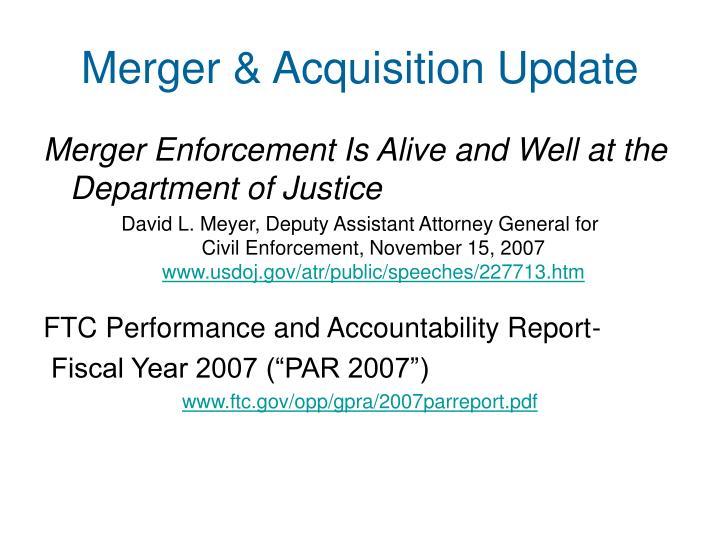 Merger acquisition update