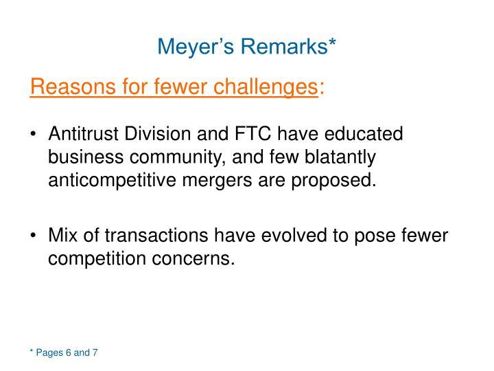 Meyer's Remarks*