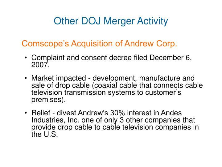 Other DOJ Merger Activity