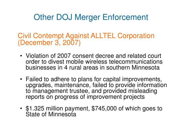 Other DOJ Merger Enforcement