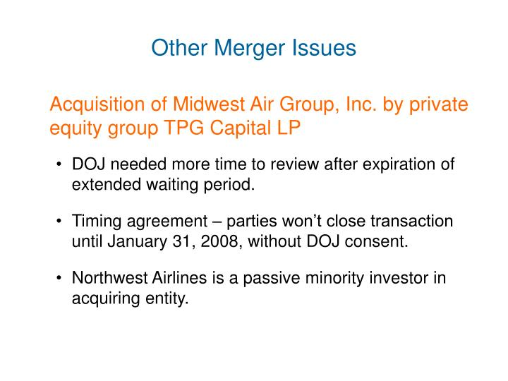 Other Merger Issues