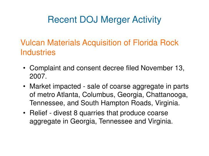 Recent DOJ Merger Activity