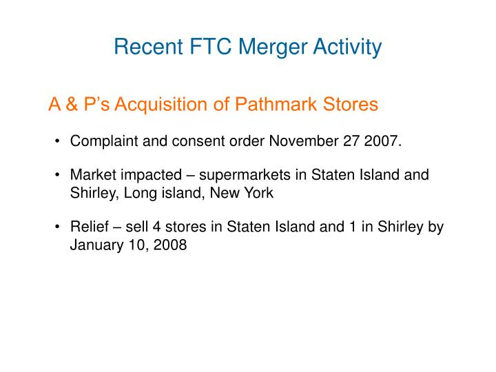 Recent FTC Merger Activity