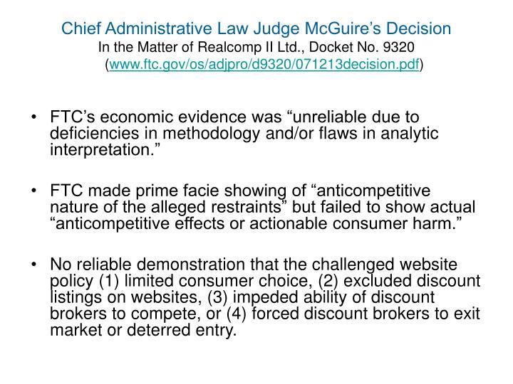 Chief Administrative Law Judge McGuire's Decision