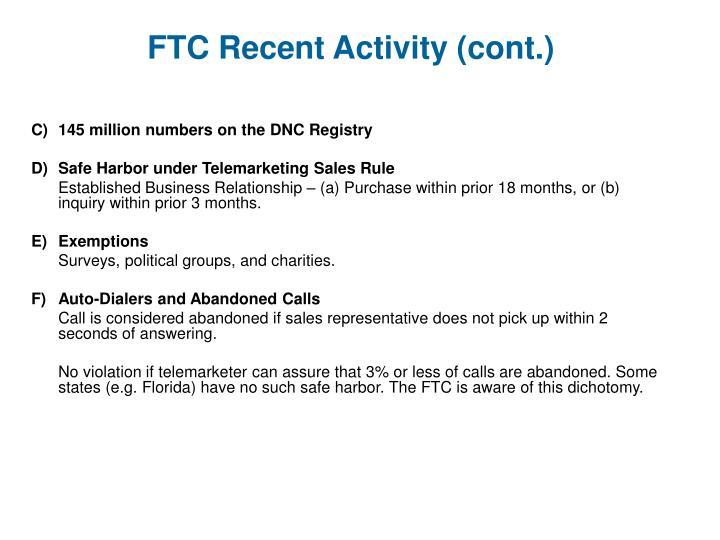 FTC Recent Activity (cont.)