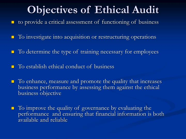 audit ethical example Auditors are responsible for ensuring that a company is operating ethically they do this by analyzing data for accuracy and compliance to policy their work is important because there are significant penalties associated with a lack of organizational control, including fines, loss of business and even prosecution.