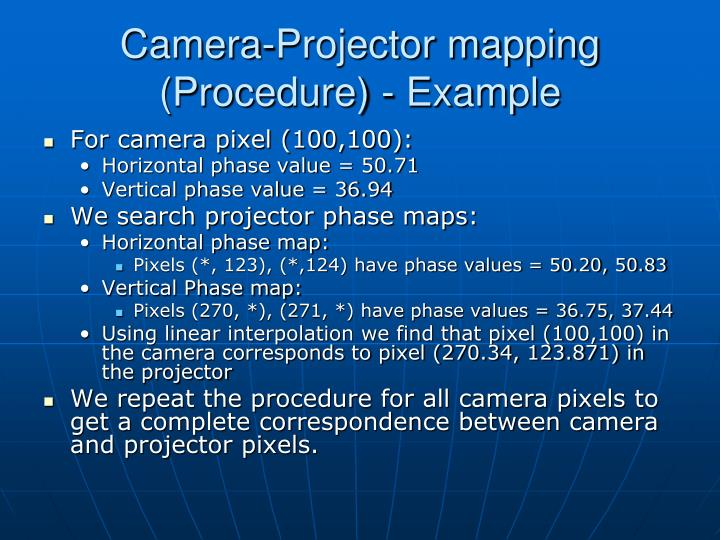 Camera-Projector mapping (Procedure) - Example