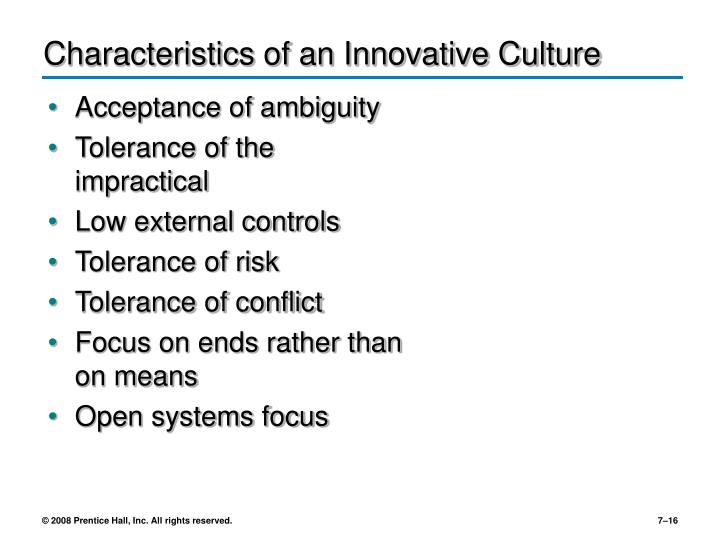 Characteristics of an Innovative Culture